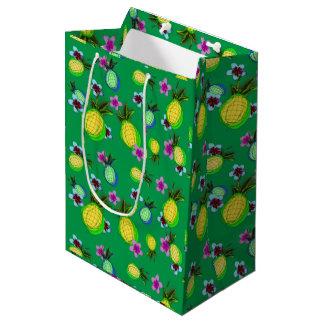 Sac Cadeau Moyen Ananas et frangipanis tropicaux heureux