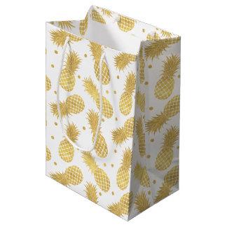 Sac Cadeau Moyen Ananas étincelants d'or