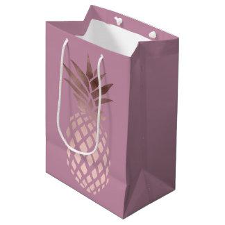 Sac Cadeau Moyen ananas tropical de poussin d'or rose élégant