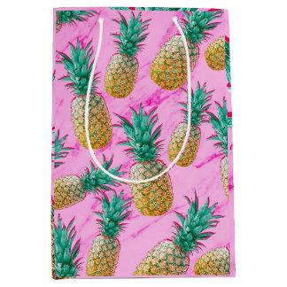 Sac Cadeau Moyen Ananas tropicaux et coloré moderne de marbre rose