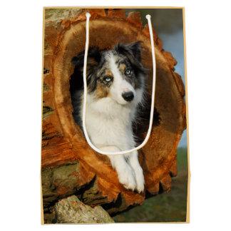 Sac Cadeau Moyen Animal familier bleu de photographie de tête de
