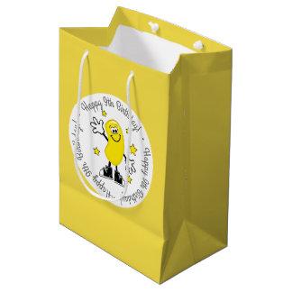 Sac Cadeau Moyen Anniversaire personnalisé jaune de dragée à la