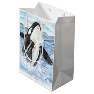 Sac Cadeau Moyen Aquarelle ouvrant une brèche la baleine d'orque
