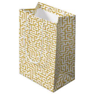 Sac Cadeau Moyen Art moderne de labyrinthe élégant - or et blanc