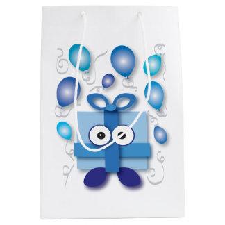 Sac Cadeau Moyen Baby shower bleu de fête de bande dessinée de