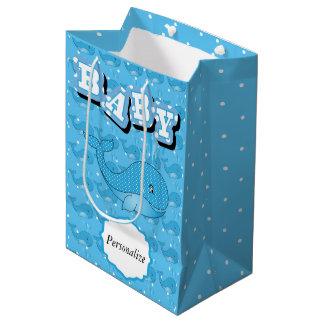 Sac Cadeau Moyen Baleine pointillée par polka de bébé bleu