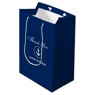 Sac Cadeau Moyen Bleu marine nautique de corde d'ancre de nom de
