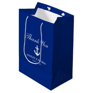 Sac Cadeau Moyen Bleu nautique d'ancre de mariage