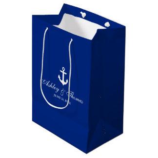 Sac Cadeau Moyen Bleu nautique et blanc d'ancre de mariage
