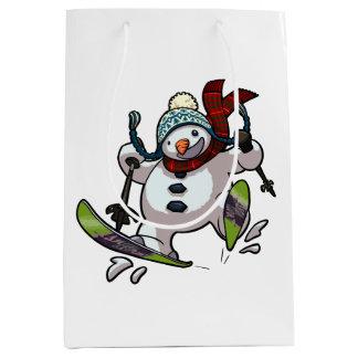 Sac Cadeau Moyen Bonhomme de neige de ski dans la bande dessinée