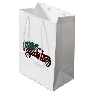 Sac Cadeau Moyen Camion rouge et vert EDITABLE d'arbre de Noël de