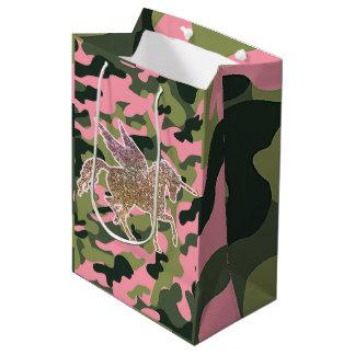 Sac Cadeau Moyen Camouflage de Camo et licorne verts roses de
