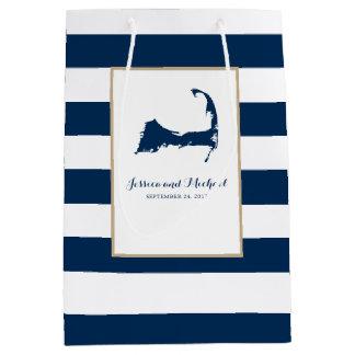 Sac Cadeau Moyen Carte et rayures de Cape Cod de bleu marine
