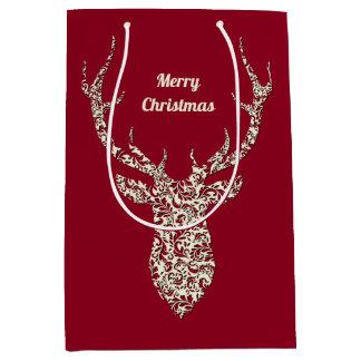 Sac Cadeau Moyen Cerfs communs en filigrane de Noël