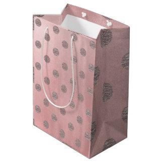 Sac Cadeau Moyen Chic moderne d'or de rose de pois fascinant rose