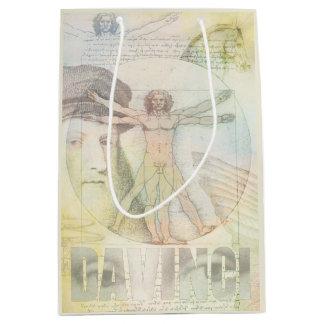 Sac Cadeau Moyen Collage d'homme de Léonard de Vinci Vitruvian