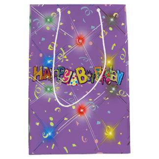 Sac Cadeau Moyen Confettis de joyeux anniversaire d'amusement