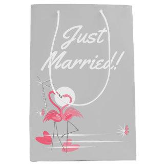 Sac Cadeau Moyen Côté d'amour de flamant juste marié ! milieu