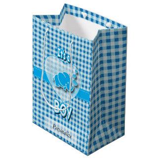 Sac Cadeau Moyen Éléphant de bébé de plaid de bleus layette et de