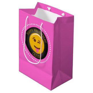 Sac Cadeau Moyen Fête d'anniversaire de la fille mignonne d'Emoji