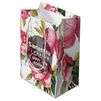 Sac Cadeau Moyen Fête d'anniversaire personnalisée florale rose