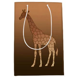 Sac Cadeau Moyen Girafe, cuivre et Brown géométriques modernes