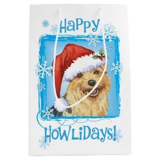 Sac Cadeau Moyen Howlidays heureux Norfolk Terrier