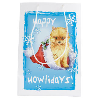 Sac Cadeau Moyen Howlidays heureux Pomeranian