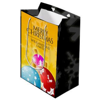 Sac Cadeau Moyen Joyeux Noël avec les ornements de fête de vacances