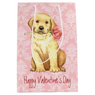 Sac Cadeau Moyen Laboratoire de jaune de rose de Valentine