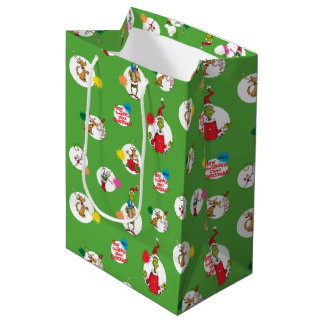 Sac Cadeau Moyen Le motif de point de Noël de Grinch |