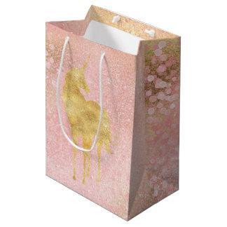 Sac Cadeau Moyen L'or rougissent licorne magique rose