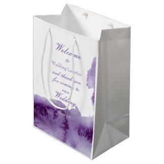 Sac Cadeau Moyen Mariage élégant vintage ultra-violet d'aquarelle