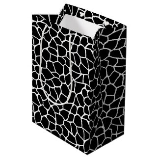 Sac Cadeau Moyen Motif animal d'impression noir et blanc de girafe