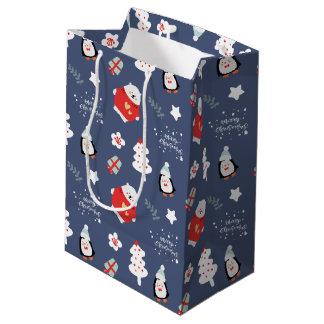 Sac Cadeau Moyen Motif bleu lunatique de créatures de Noël