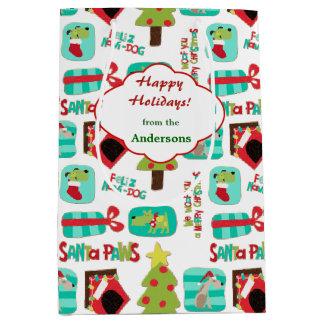 Sac Cadeau Moyen Motif de chien de Noël personnalisé