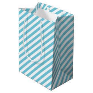 Sac Cadeau Moyen Motif diagonal bleu et blanc de rayures