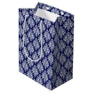 Sac Cadeau Moyen Motif élégant de damassé de bleu marine et de