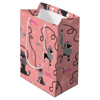 Sac Cadeau Moyen Motif rose de jupe de caniche rétro et noir de les