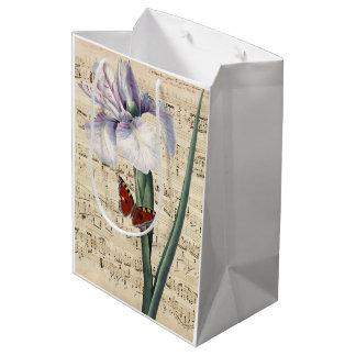 Sac Cadeau Moyen musique d'iris et de papillon