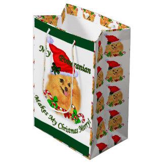 Sac Cadeau Moyen Noël de Pomeranian