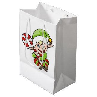 Sac Cadeau Moyen Noël Elf avec des enfants de sucre de canne