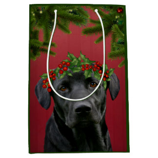 Sac Cadeau Moyen Noël noir de laboratoire