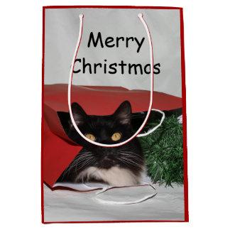 Sac Cadeau Moyen Noël noir et blanc de chat