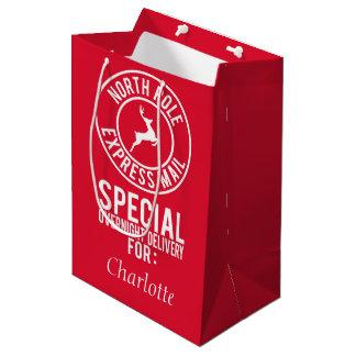 Sac Cadeau Moyen Nom rouge et blanc moyen de courrier express de