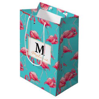 Sac Cadeau Moyen Oiseaux roses de flamant sur l'arrière - plan de
