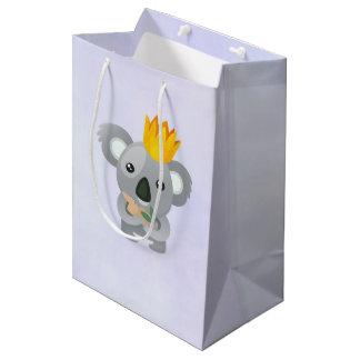 Sac Cadeau Moyen Ours de koala mignon utilisant une couronne d'or