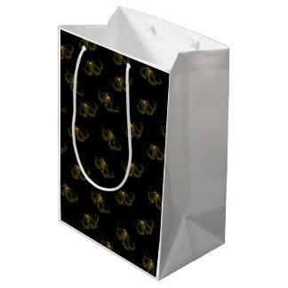 Sac Cadeau Moyen Papillons métalliques d'or sur le noir