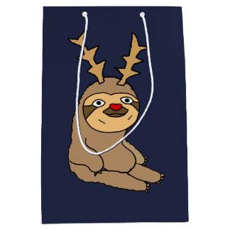 Sac Cadeau Moyen Paresse drôle avec Noël d'andouillers de renne