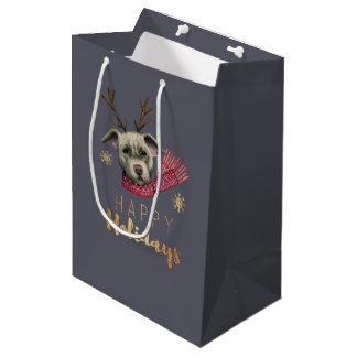 Sac Cadeau Moyen Pitbull de renne de Noël avec des polices d'or de